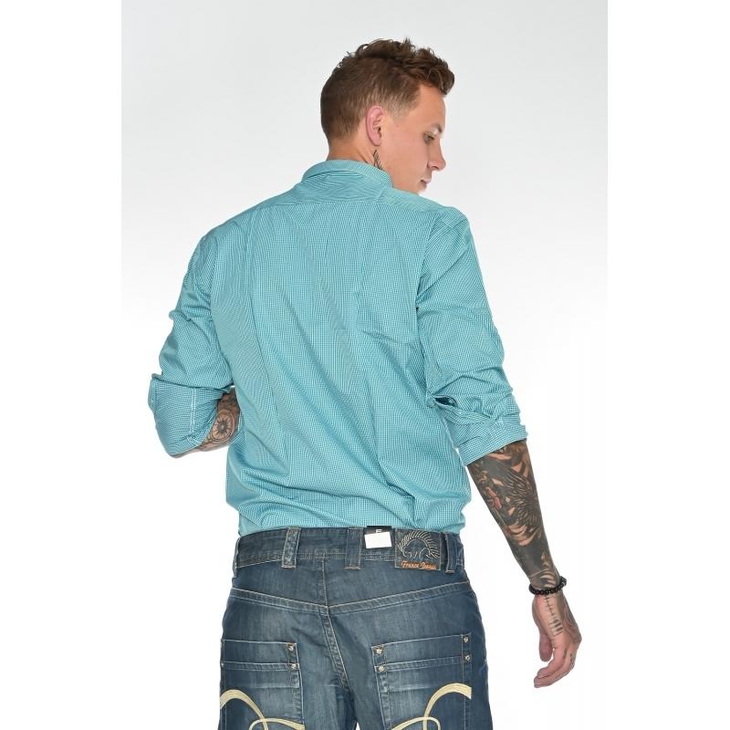Мужская рубашка с длинным рукавом Gelix 11412-2 в клетку зеленая