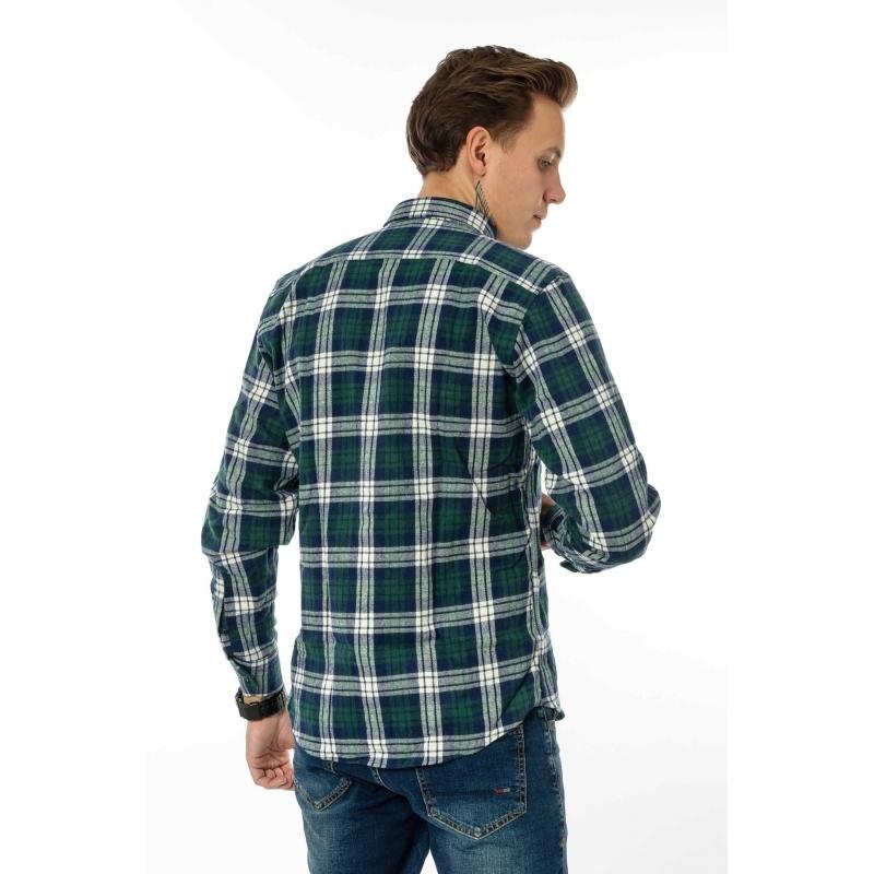 Мужская рубашка в клетку - Gelix 1184 зеленая