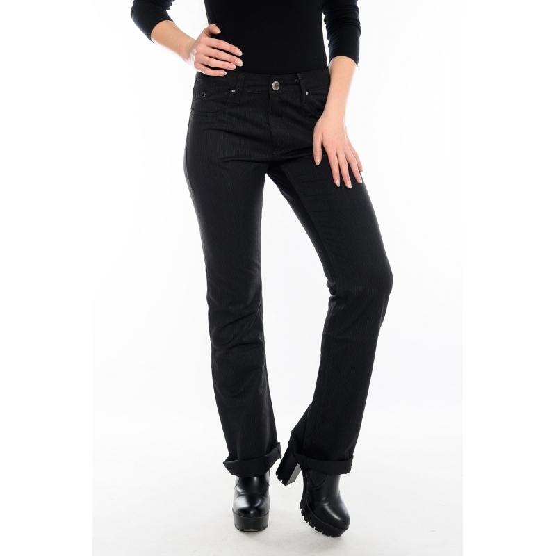 Батальные брюки женские в полоску OMAT 9829 черные