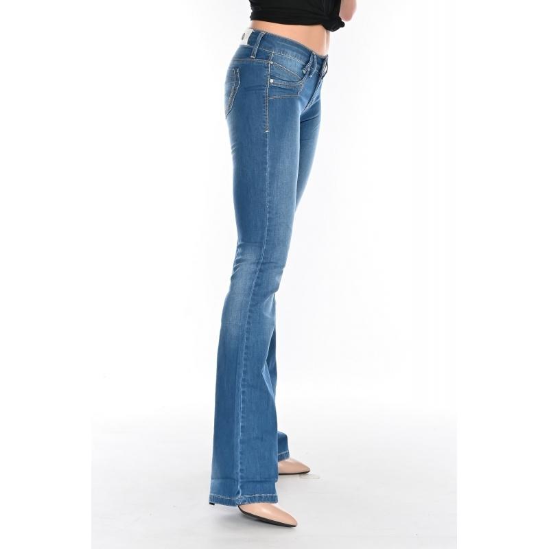 Женские джинсы OMAT 9945 клёш от колена синие