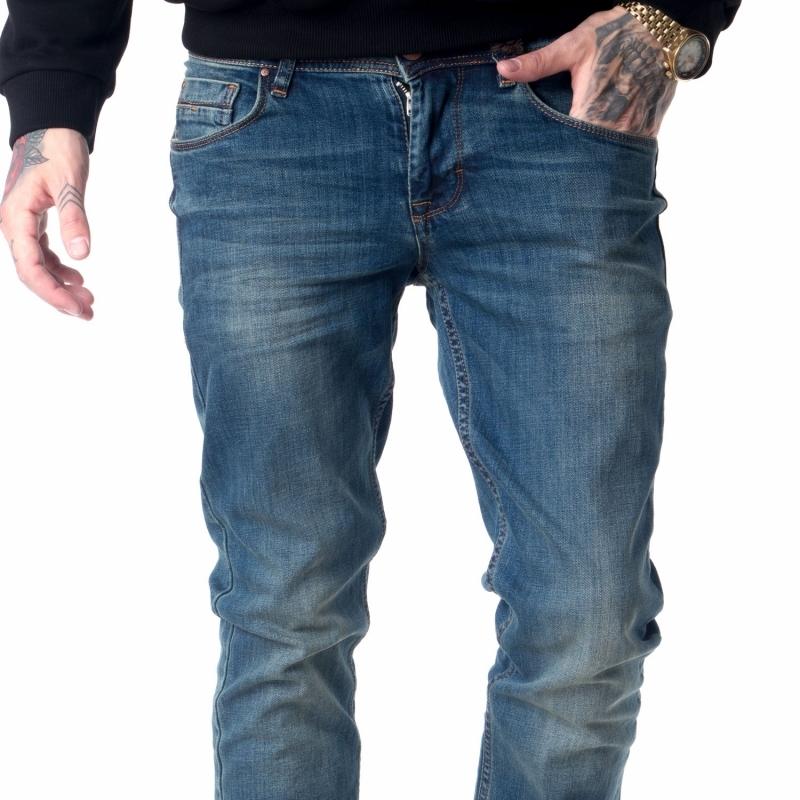 Джинсы мужские зауженные от колена синие
