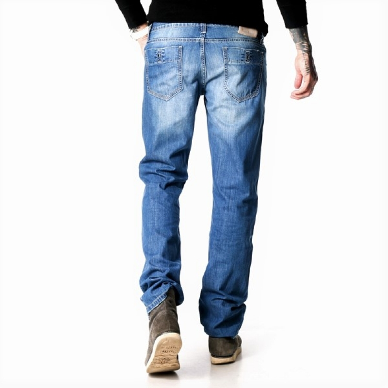 Зауженные мужские джинсы 12-018 голубые