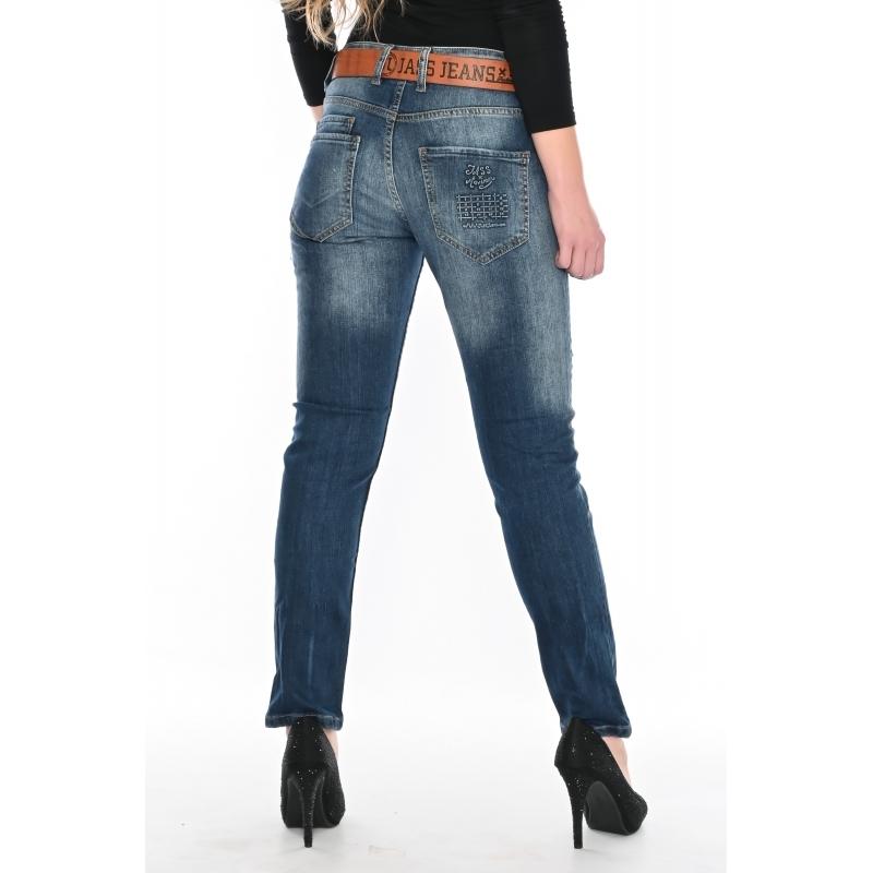Женские джинсы бойфренд Jass jeans 218 темно-синие