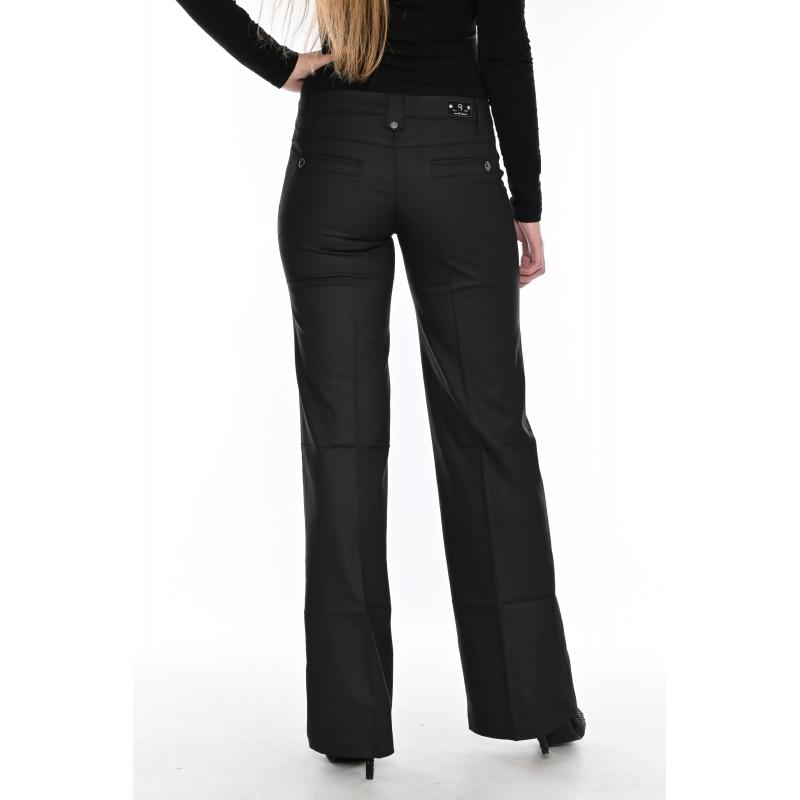 Женские джинсы клёш от бедра OMAT 9848 черные