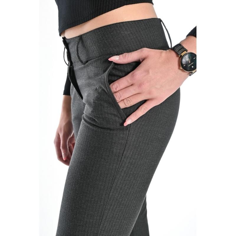 Брюки женские OMAT jeans 9852-946 в полоску серые