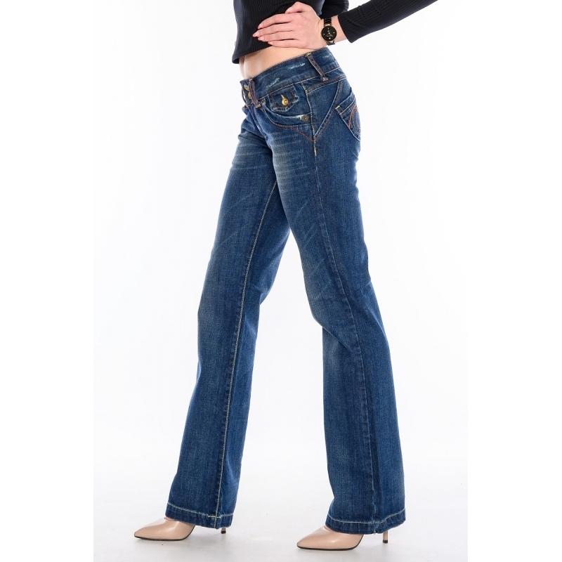 Женские джинсы клёш от бедра 9216 синие