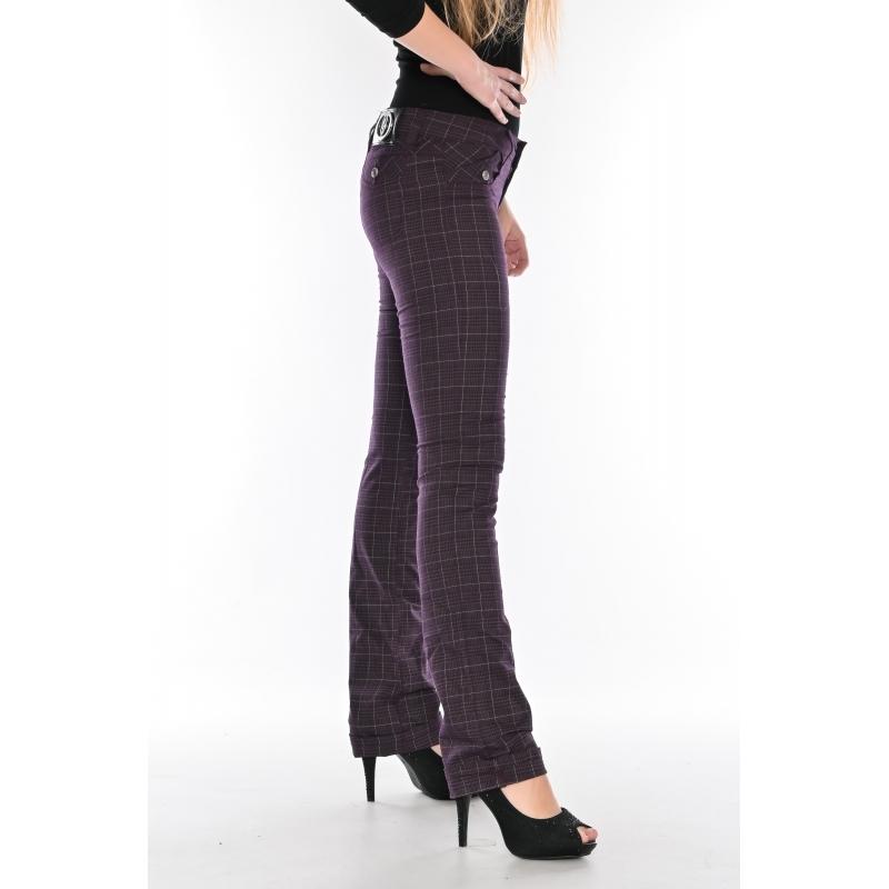 Брюки женские OMAT jeans 9665 Клетка (MOR) баклажанные