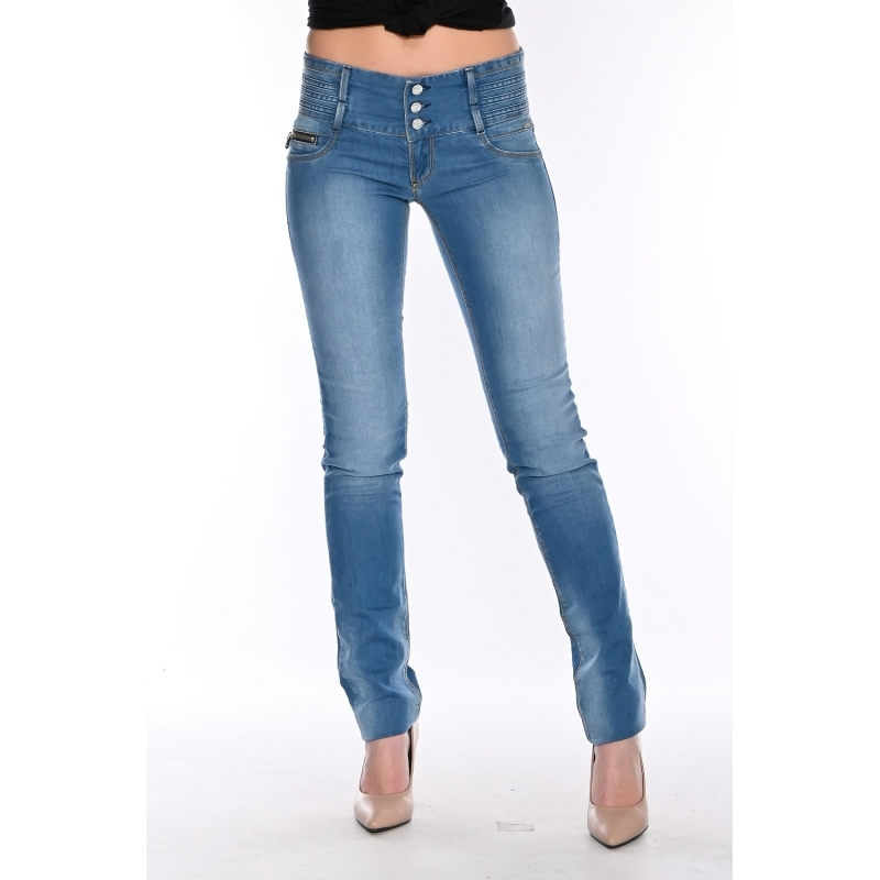 Зауженные джинсы женские OMAT 9932 синие