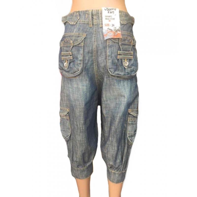 Бриджи женские джинсовые с карманами