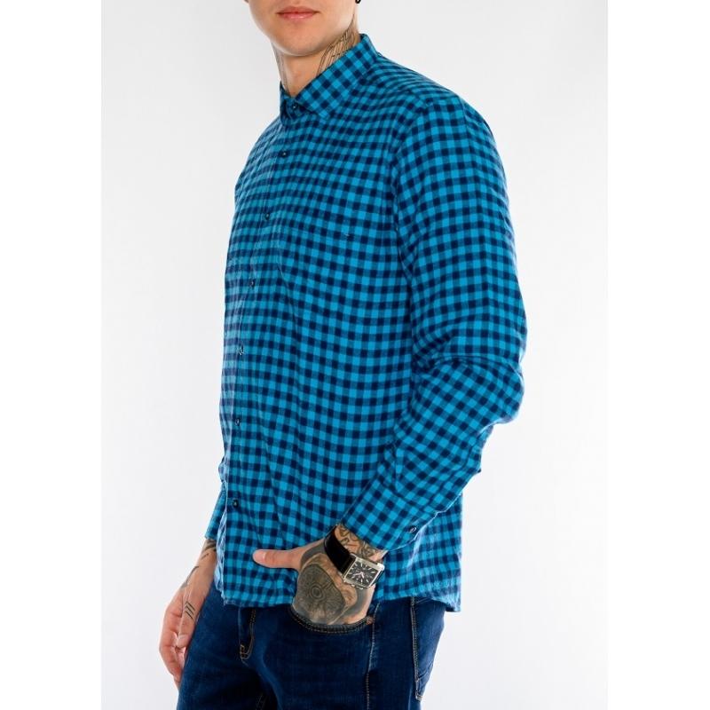 Клечатая рубашка с длинным рукавом 1200 синяя