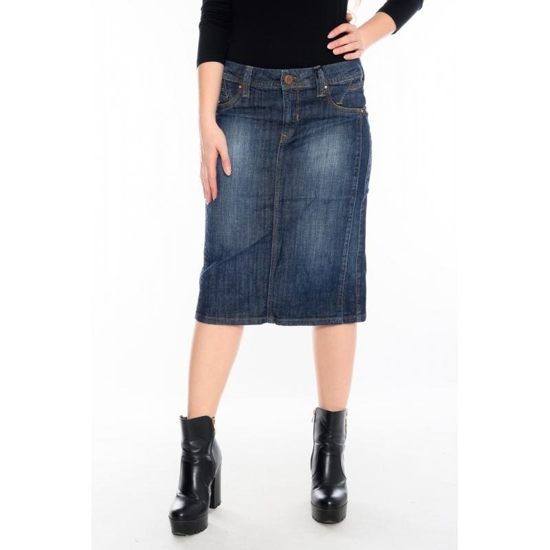 Юбка джинсовая OMAT 1404-840 синяя