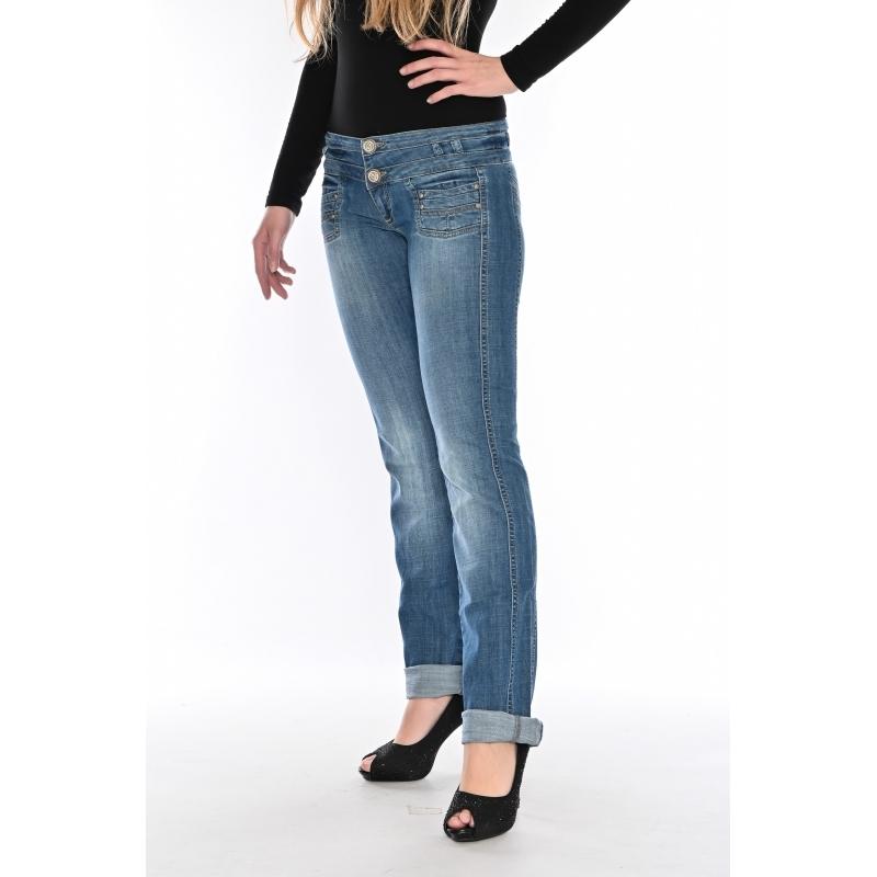Женские джинсы с широким поясом OM 9618 синие