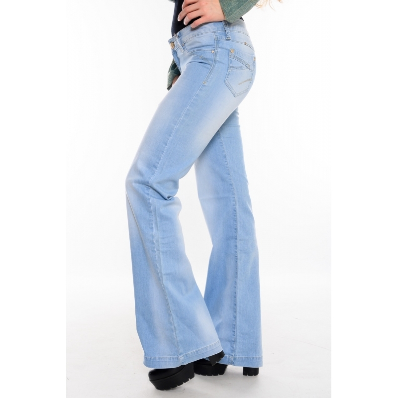 Женские джинсы клёш от бедра 9923 голубые