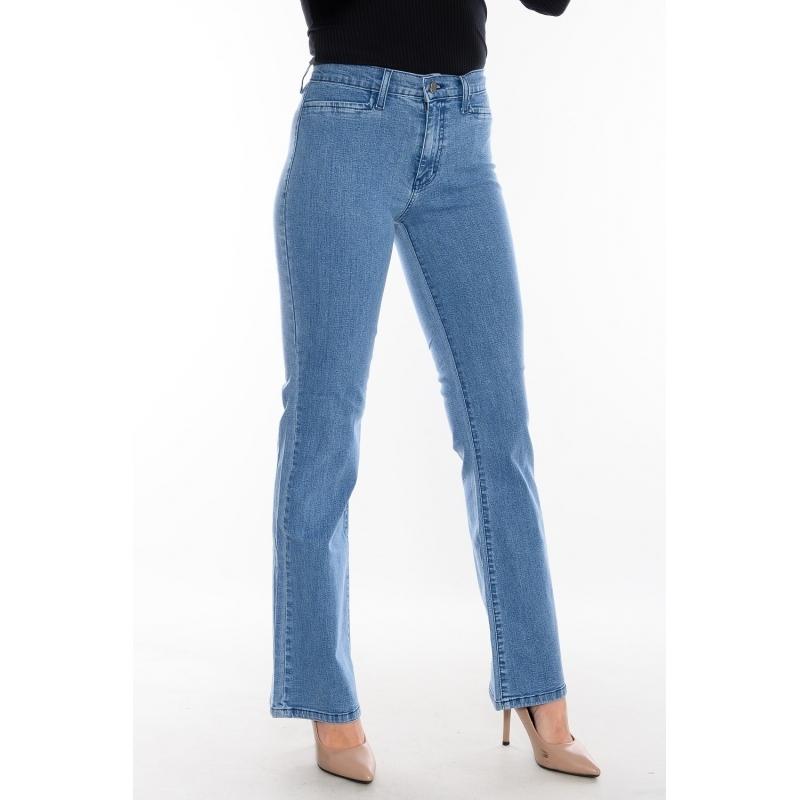 Женские джинсы OMAT 9969 клёш от колена синие