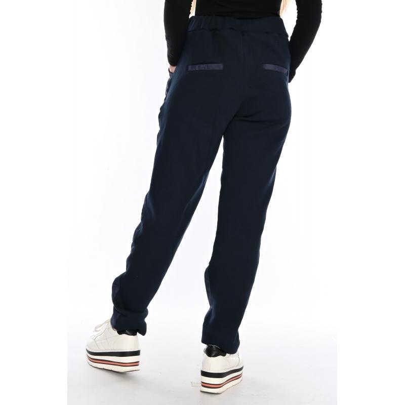 Теплые брюки женские с флисом 1101 синие