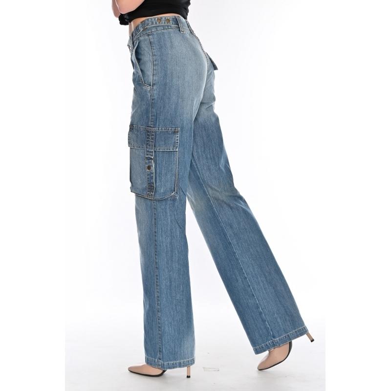 Широкие джинсы 1122 с боковыми карманами синие
