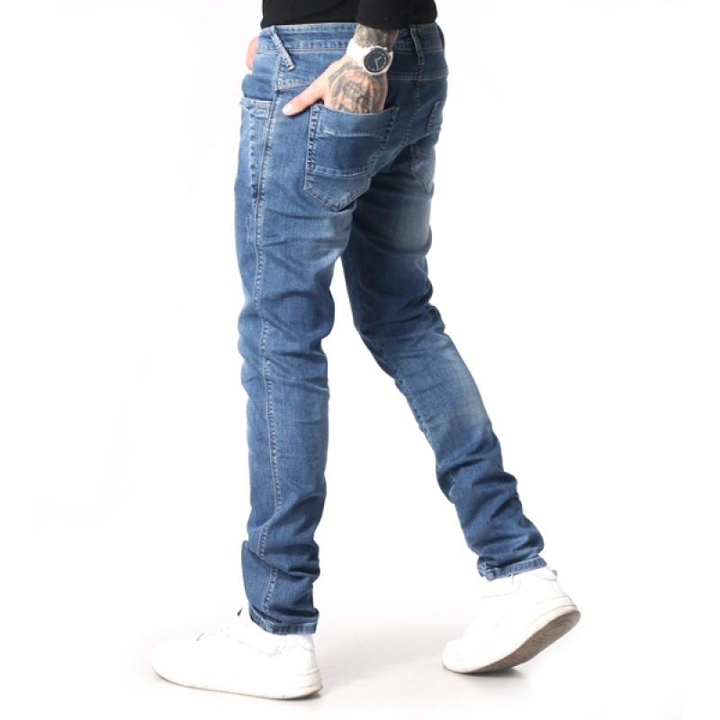 Зауженные мужские джинсы синие