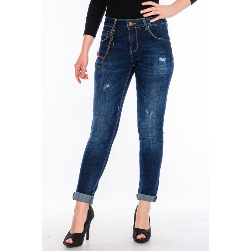 Темно-синие джинсы бойфренды