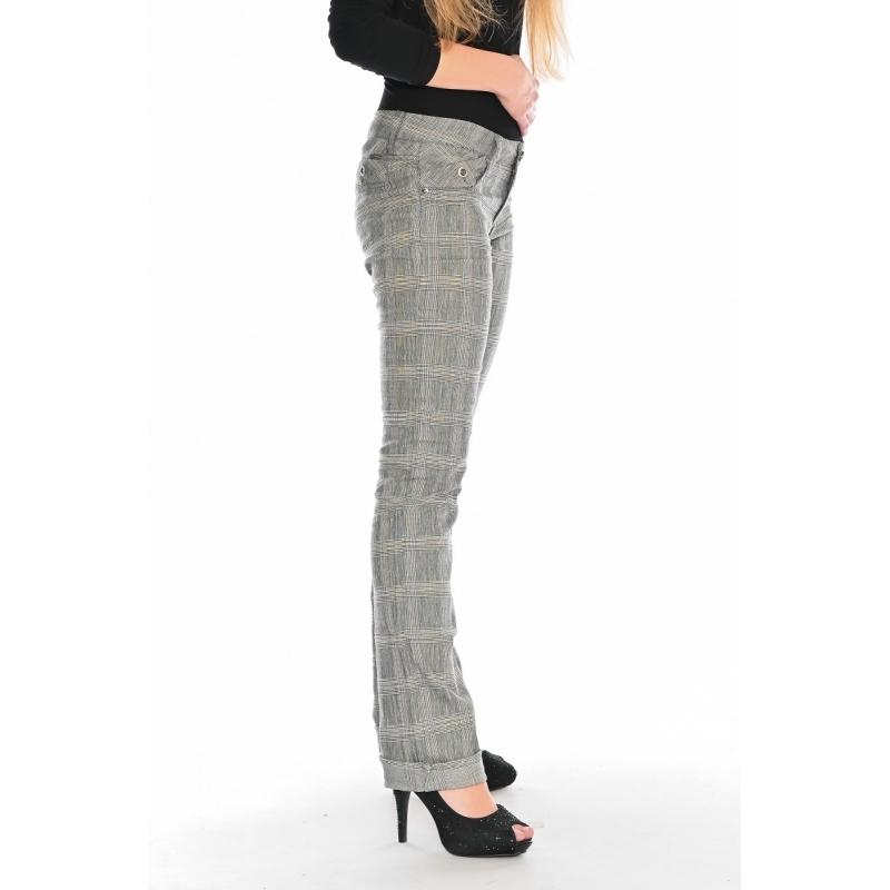 Брюки женские OMAT jeans 9665 Клетка серые