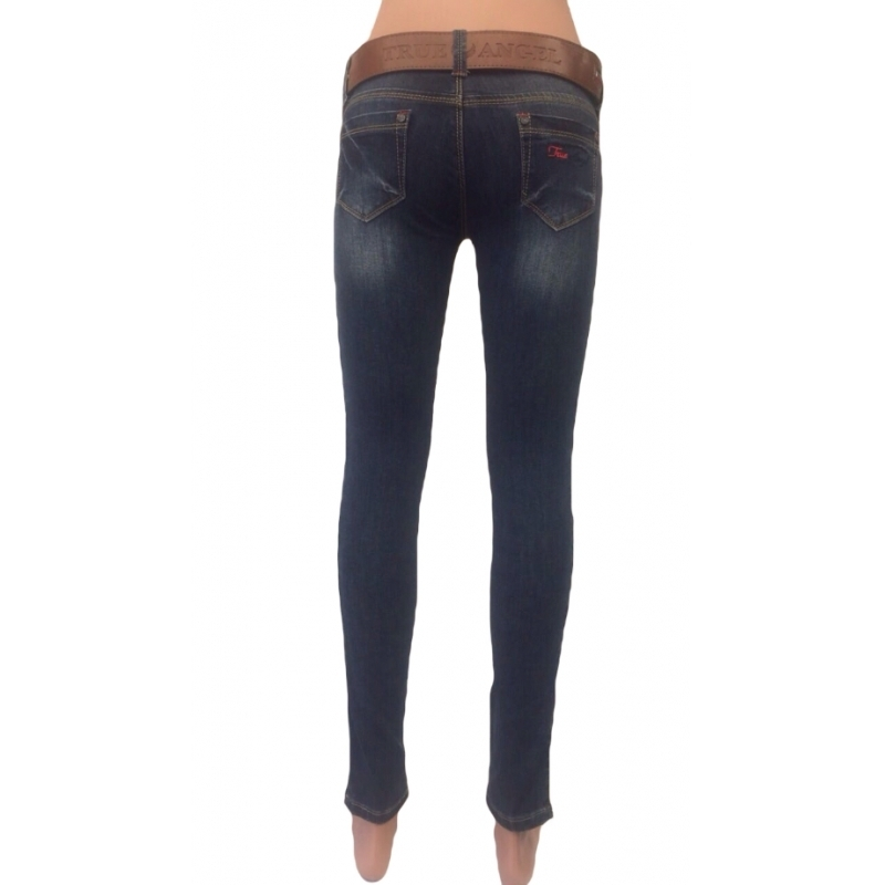 Темно-синие джинсы женские модные